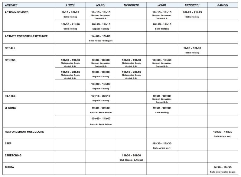 Planning cours saison 2018-19 par activité