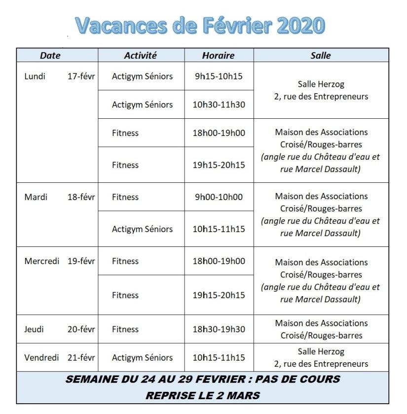 Vacances de Février 2020