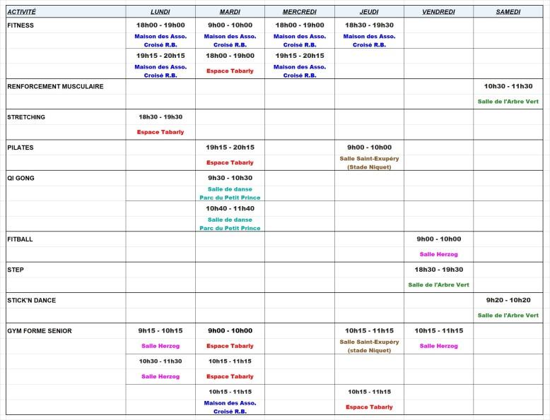 Planning cours + salles - saison 2020-2021